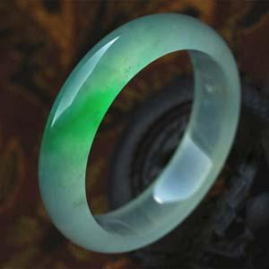 水潔冰清天然緬甸老坑A貨冰種綠翡翠手鐲內徑54mm
