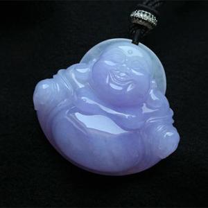 缅甸老坑糯冰种天然紫罗兰翡翠A货玉弥勒佛公吊坠-紫气东来