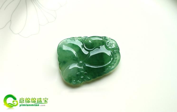 缅甸老坑冰玻璃种天然满绿翡翠A货玉挂件-连年有余