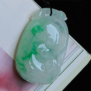 颠倒众生缅甸老坑天然冰种带绿翡翠A货玉如意挂件
