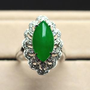 天然冰种满绿翡翠A货马眼戒指女款缅甸玉镶金钻