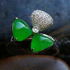 满绿翡翠A货戒指女款 玻璃种玉指环 花样年华