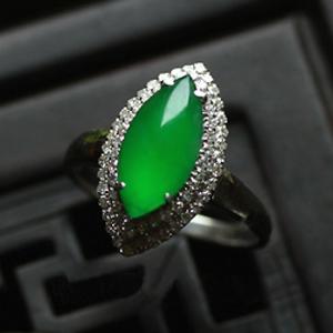 天然滿綠翡翠A貨 馬眼戒指 女款 緬甸玉指環