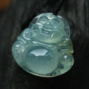 喜笑颜开缅甸冰种翡翠A货缅甸玉石弥勒佛公挂件项吊坠
