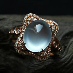 缅甸老坑玻璃种荧光翡翠A货玉蛋面镶金钻戒指