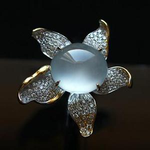 老坑玻璃种荧光翡翠A货玉蛋面镶金钻戒指-花样年华