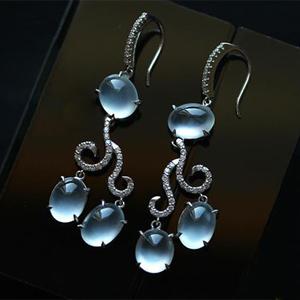 缅甸老坑玻璃种天然翡翠A货18K白金钻石玉耳坠