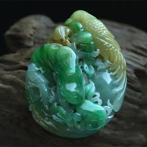 缅甸老坑糯冰种天然黄加绿翡翠A货玉挂件-吉祥如意