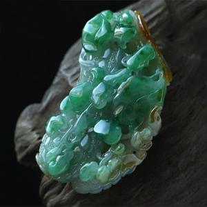 缅甸老坑糯冰种天然黄加绿翡翠A货玉挂件-苦尽甘来