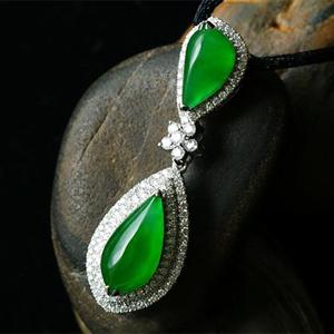 緬甸老坑玻璃種天然滿綠翡翠A貨玉隨形吊墜