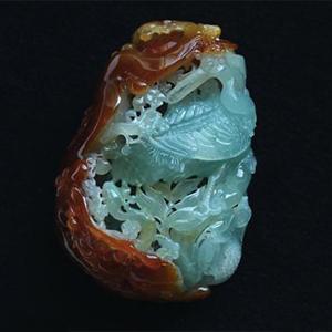 缅甸老坑糯冰种天然翡翠A货红翡巧雕玉手把件-松鹤延年
