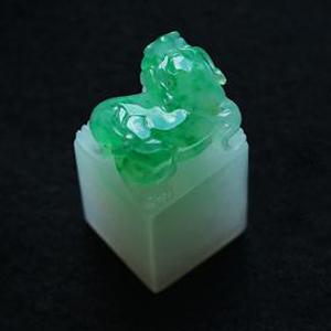 缅甸老坑糯冰种天然绿翡翠A货玉貔貅印章挂件-镇宅辟邪