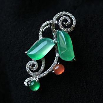 缅甸老坑玻璃种天然满绿翡翠A货白金钻石玉吊坠-红翡绿翠