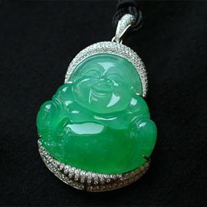 缅甸老坑冰种天然满绿翡翠A货镶金钻玉弥勒佛公挂件