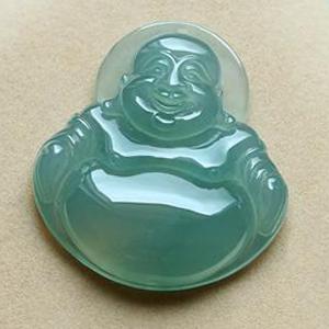 缅甸老坑冰种天然蓝绿翡翠A货玉弥勒佛公挂件-笑口常开
