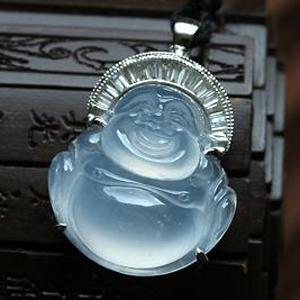 缅甸老坑冰玻璃种强荧光翡翠镶金钻玉弥勒佛吊坠-笑口常开