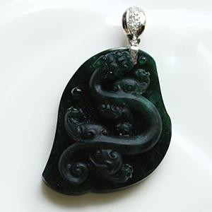 缅甸老坑冰种天然翡翠A货墨翠玉貔貅挂件-神龙戏珠