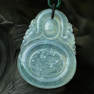 緬甸老坑玻璃種翡翠A貨玉貔貅掛件靈龍戲珠