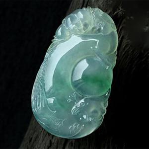 緬甸老坑玻璃種天然飄綠翡翠A貨玉掛件-龍鳳呈祥