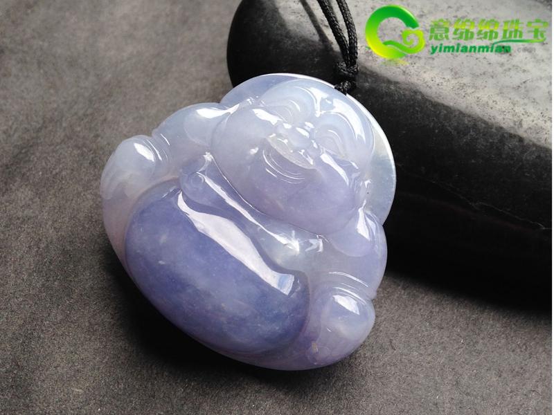 喜笑颜开天然缅甸老坑A货翡翠紫罗兰冰种佛公挂件