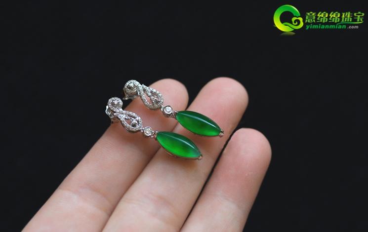 翠色欲流玻璃种满绿翡翠A货玉石马眼镶金钻耳坠耳环饰