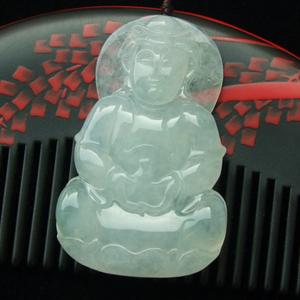 慈目丰腴缅甸天然冰种翡翠玉观音挂件