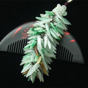 黃加綠緬甸天然翡翠玉包鏈-車掛-平安吉祥