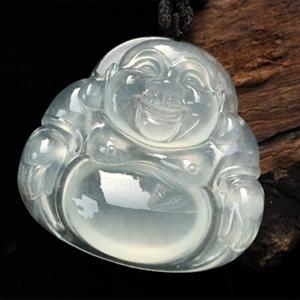 缅甸天然翡翠A货玻璃种座佛挂件