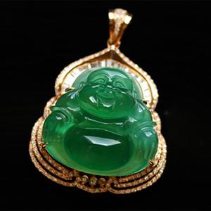 笑口常开天然缅甸老坑A货玻璃种祖母绿翡翠镶金佛公挂件