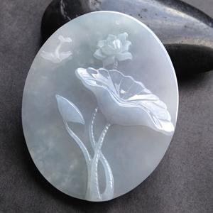 镜花水月天然缅甸老坑A货翡翠冰糯种淡紫莲花挂件