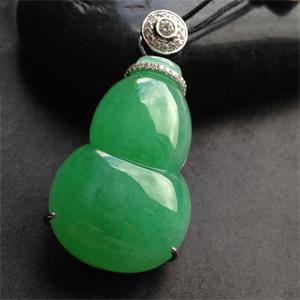 翠绿晶莹天然缅甸老坑A货翡翠冰种满绿葫芦18K金镶嵌