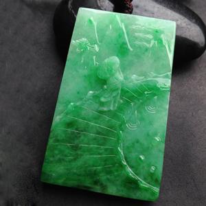一品清廉天然缅甸老坑A货翡翠李振庆作品游玩冰糯种满绿挂件