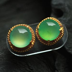 清新雅致天然缅甸老坑A货翡翠玻璃种满绿玉石蛋面裸石耳钉坠