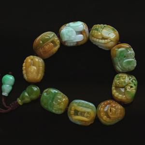 天然缅甸老坑A货黄加绿翡翠玉石18罗汉念佛珠手链