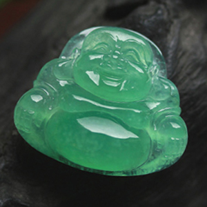 尘梦几许天然冰玻璃种满绿翡翠A货玉石弥勒佛公挂件