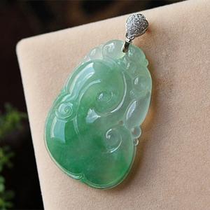 缅甸老坑冰玻璃种天然绿龙8国际|appA货玉如意挂件-福寿如意