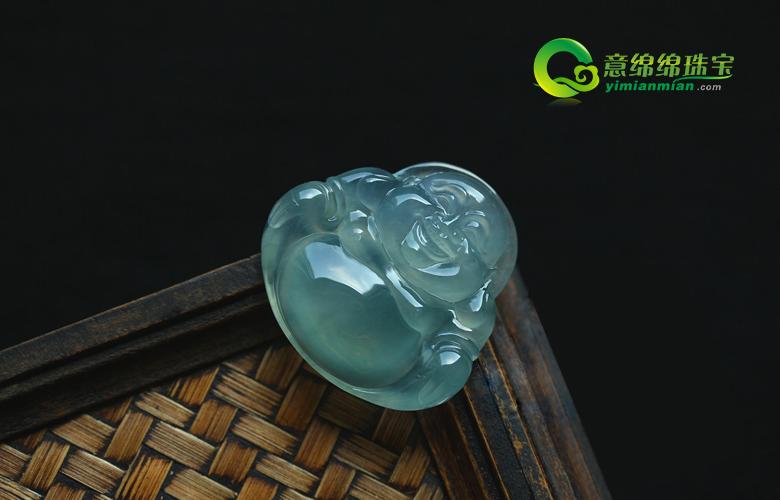大肚能容天然缅甸老坑A货翡翠玻璃种荧光玉石弥勒笑佛挂件