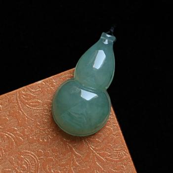 风信年华天然缅甸老坑A货翡翠油青种葫芦挂件