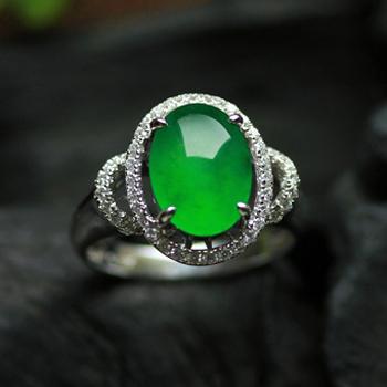 秀外惠中天然缅甸老坑A货玻璃种满绿翡翠A蛋面金钻女款戒指