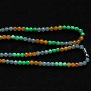 刻苦銘心天然緬甸老坑A貨冰種黃加綠三彩翡翠玉圓珠掛件繩項鏈