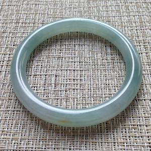 清新脱俗天然缅甸老坑A货翡翠冰种圆条手镯52.7mm