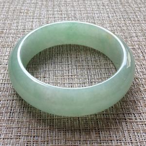 绿水环绕天然缅甸老坑A货苹果色冰种玉石圆手镯59mm