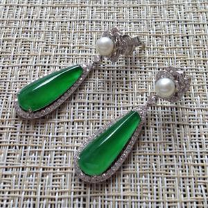 纯洁无暇天然缅甸老坑A货翡翠帝王绿玻璃种水滴镶嵌耳坠