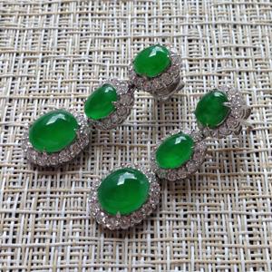 幸福美滿天然緬甸老坑A貨翡翠帝王綠玻璃種鑲嵌耳環掛件