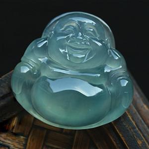 大肚能容天然缅甸老坑A货威廉希尔玻璃种荧光玉石弥勒笑佛挂件