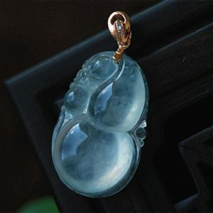 和谐美满天然缅甸老坑A货翡翠玻璃种玉石葫芦挂件