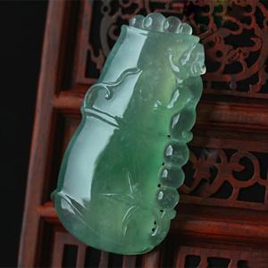 刚正坚贞天然绿翡翠A货缅甸玉石玻璃种竹节节高吊坠