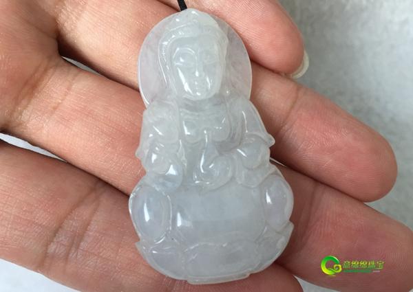 缅甸老坑天然冰糯种翡翠a货观音挂件