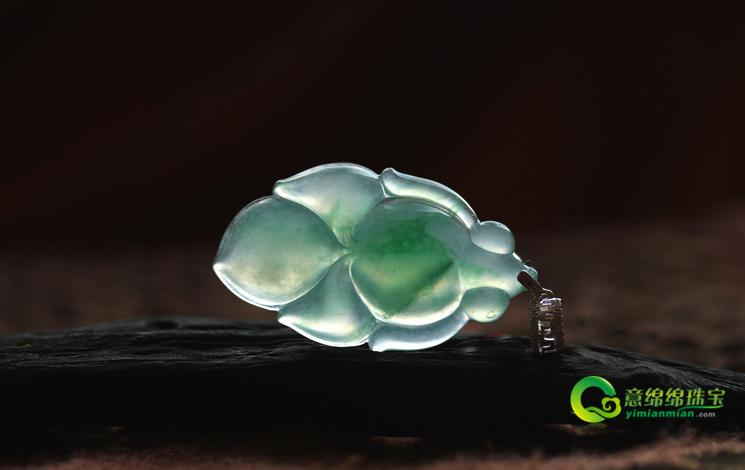如魚得水天然緬甸A貨翡翠老坑冰玻璃種飄綠花金魚掛件