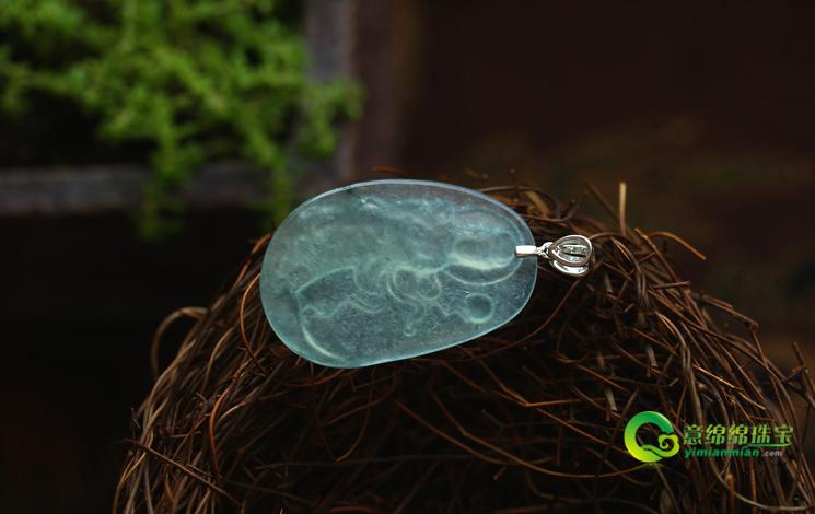 清澈見底天然緬甸A貨翡翠冰玻璃種觀音菩薩掛件